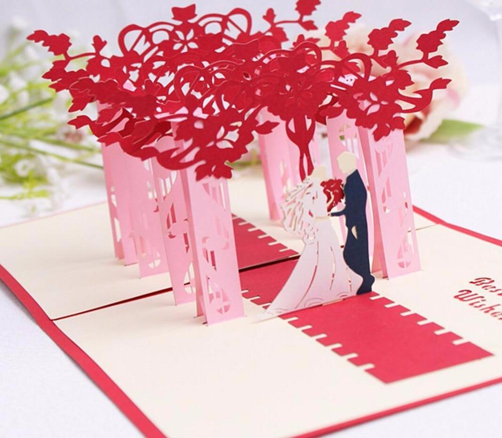 Aliexpress.com : 10 Stücke 3D Red Bäume Wald Paar Handgefertigte Kirigami  Origami Hochzeit Einladungskarten Greeding Geburtstagskarte Postkarte Von  ...