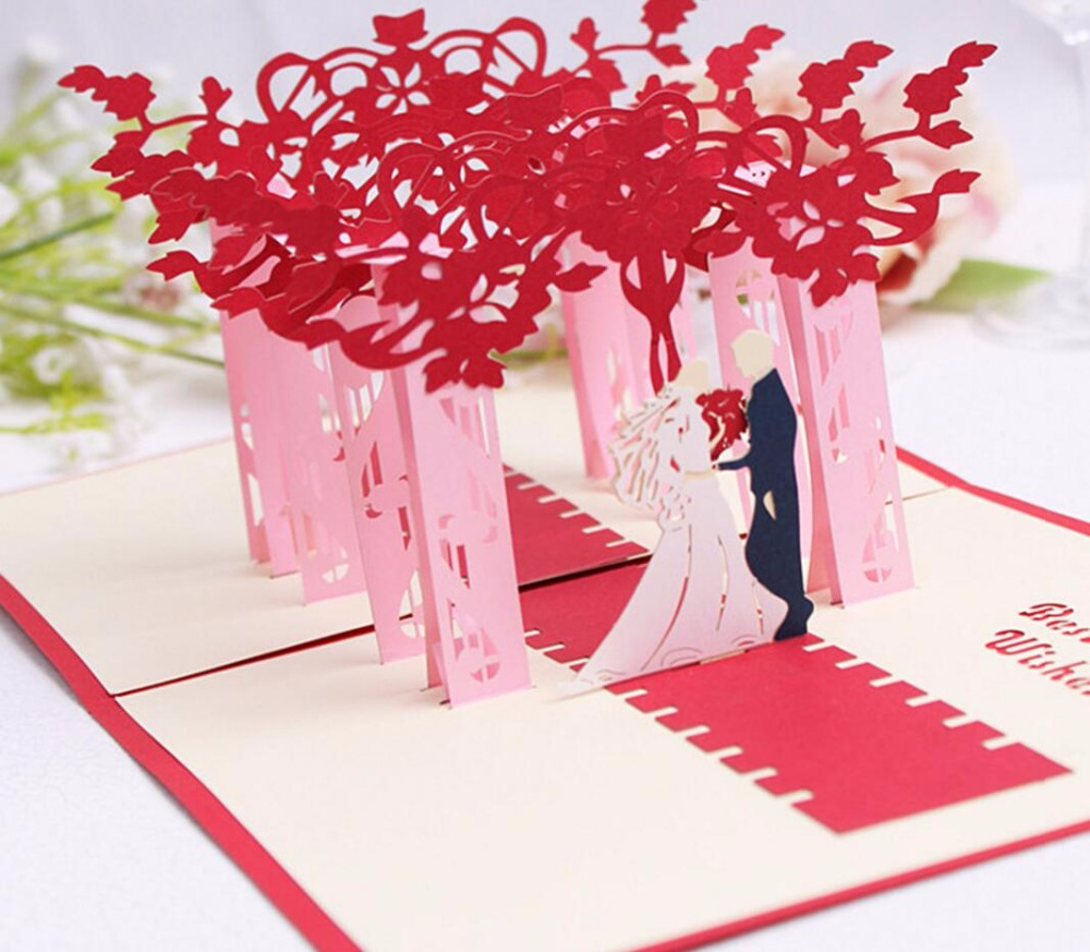10pcs 3D Red Trees Forest Couple Handmade Kirigami Origami Wedding ...