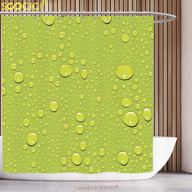 Fun Shower Curtain Abstract Water Rain Drops on Colored Background Purity Symbol Liquid Forms Illustration Apple Green Bathroom