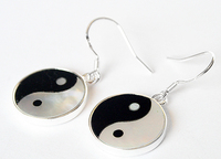 16mm Tai Ji Eight Diagram Tactics Design Sea Shell 925 Sterling Silver Earrings