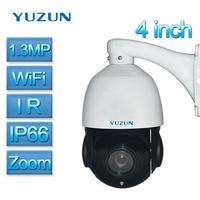 4 Inch Mini Size 1.3MP IP Camera Wi fi Wireless IP PTZ Camera Outdoor Onvif P2P Speed Dome Zoom PTZ IP Camera CCTV Night Vision
