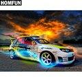 Алмазная живопись HOMFUN A00532, картина «скоростная Гоночная машина» с полными квадратными/круглыми стразами, вышивка крестиком, 5D декор, подаро...