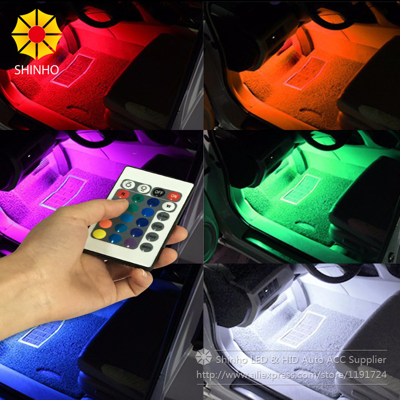 4Pcs Wireless Remote Music Voice Sound Control Car RGB LED Neon Interior Light Lamp Strip Decorative Lights 2 Styles For Choose 2 4g wireless control rgb color neon glow interior underdash foot floor accent ambient light for infiniti qx56 qx80