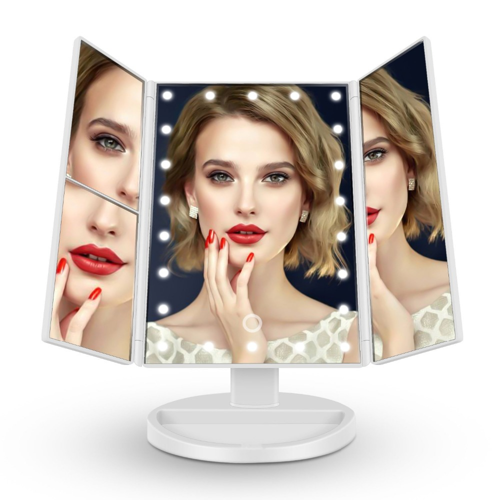 Lights & Lighting 3 Fold Mirror Led Light Makeup Mirror Light Magnifying Touch Screen Dimmable Vanity Table Desktop Led Lamp