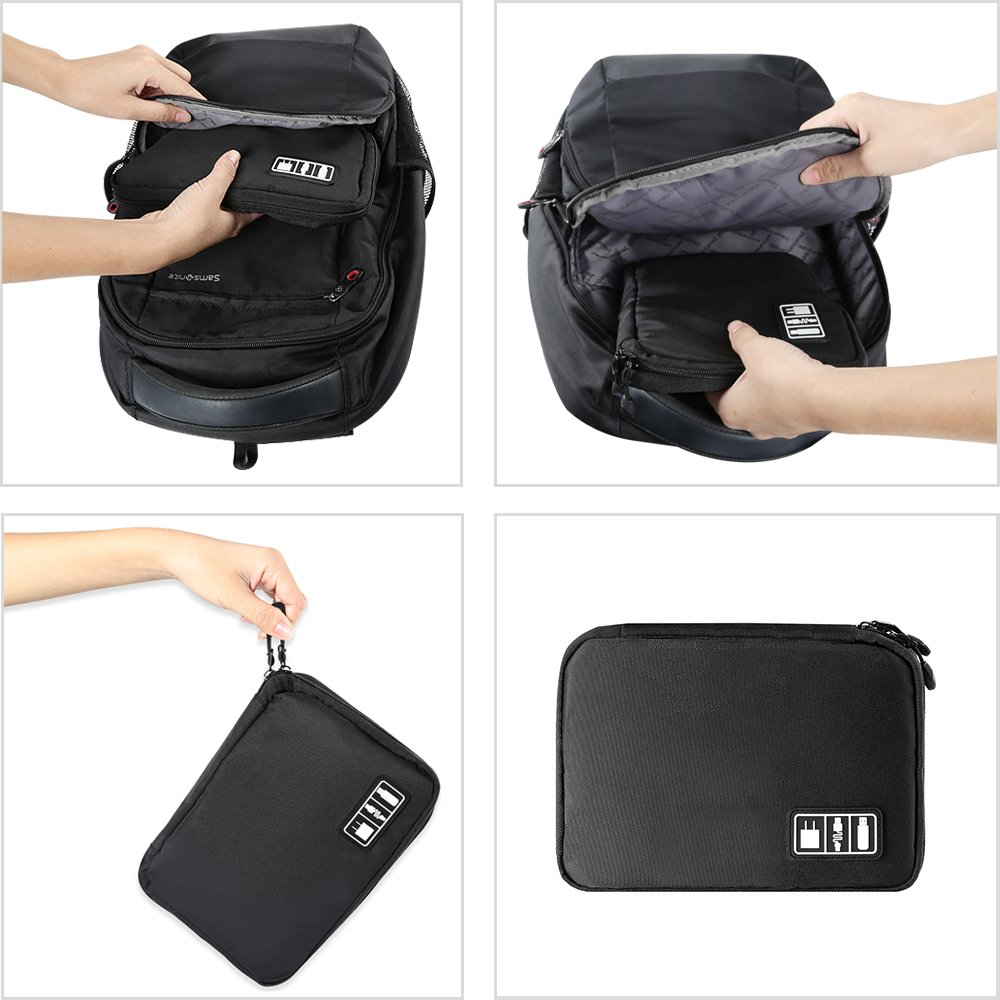 Black Cable Organizer Electronics Accessories Travel Bag USB Drive Bag Healthcare Grooming Kit Winder Management Storage Case (6)