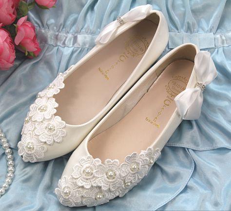 ФОТО Women's wedding flats shoes white lace rhinestones bow female ladies lace wedding shoe party dance shoes TG186 plus big size