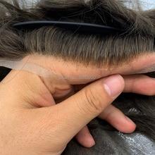 Sistema di capelli per gli uomini Q6 mens di stile dei capelli sistema di sistema di capelli del merletto linea sottile naturale dei capelli di remy