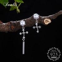 INALIS 925 Sterling Silver Cross Cubic Zirconia CZ Dangle Earrings For Women Asymmetrical Femme Bijoux Aretes