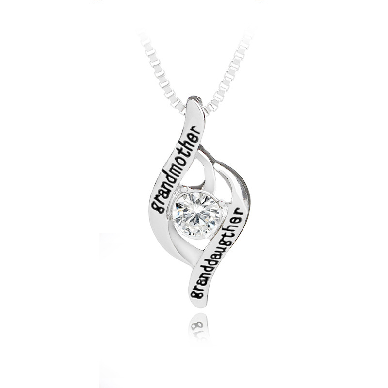 KYSZDL Grandmother Granddaughter Fashion Personalized Pendant Necklace Mother Birthday Gift Jewelry
