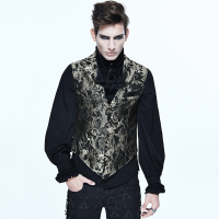 Steampunk Gothic Court Style Men Embroidered Waistcoats Punk Sleeveless V neck Vest Coats Evening Party Gentleman Dress Vests