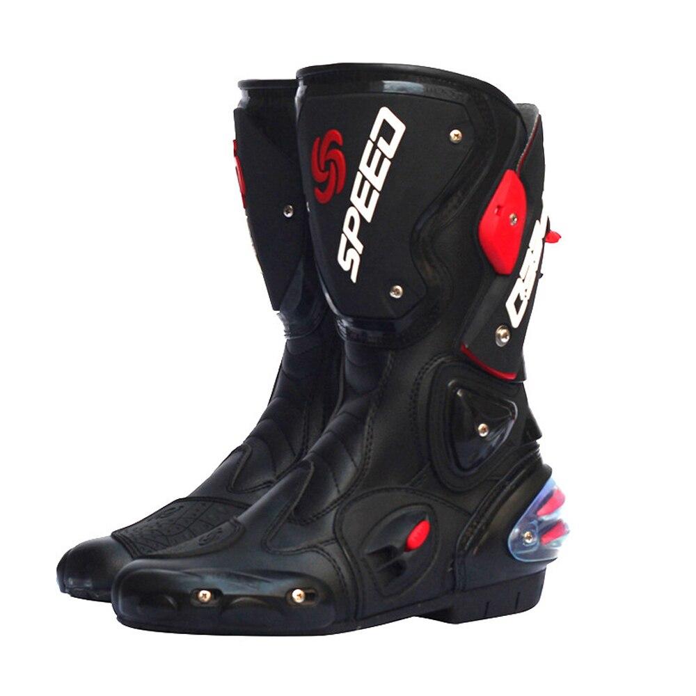Bottes de Moto imperméables Pro-motard vitesse motards Moto course Motocross cuir chaussures Motocross course mi-mollet bottes