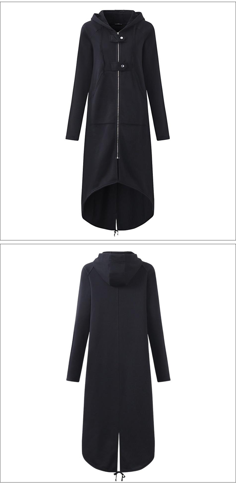 CROPKOP Fashion Long Sleeve Hooded Trench Coat 18 Autumn Black Zipper Plus Size 5XL Velvet Long Coat Women Overcoat Clothes 3