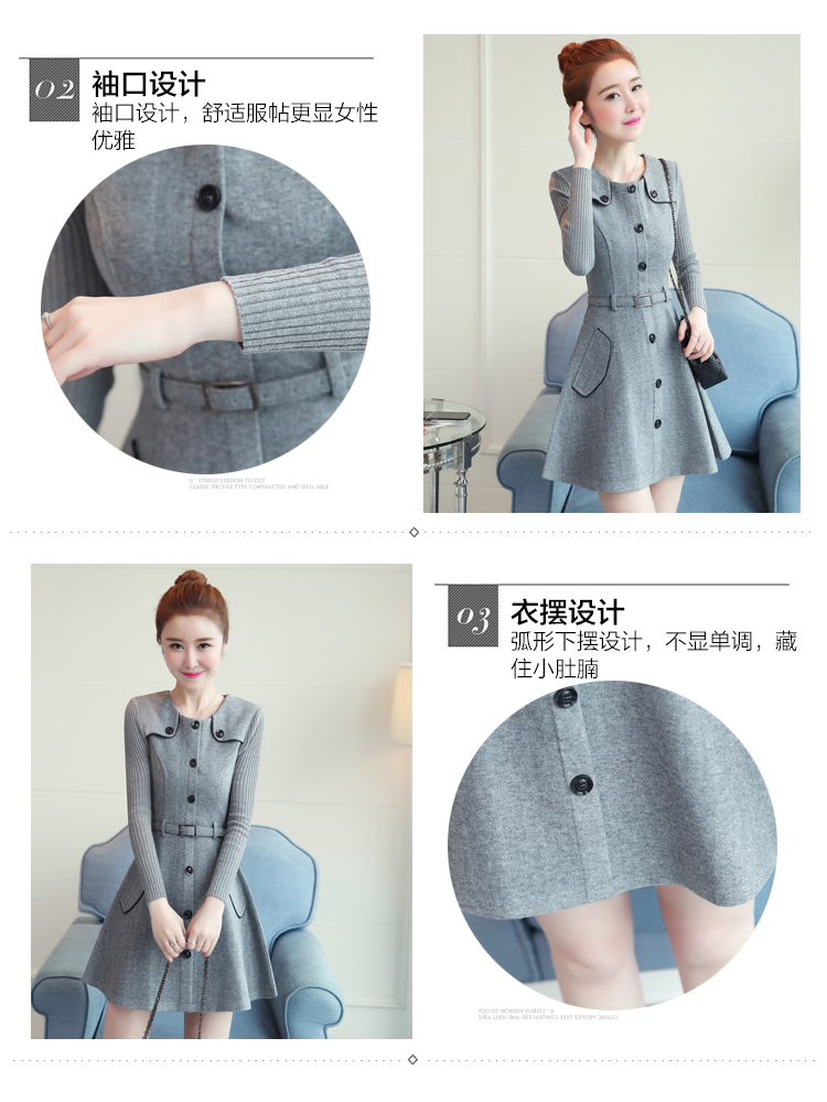 winter new round collar single-breasted cloth dress belt buttons A word women dresses Korean fashion outfit lady vogue vestido 10
