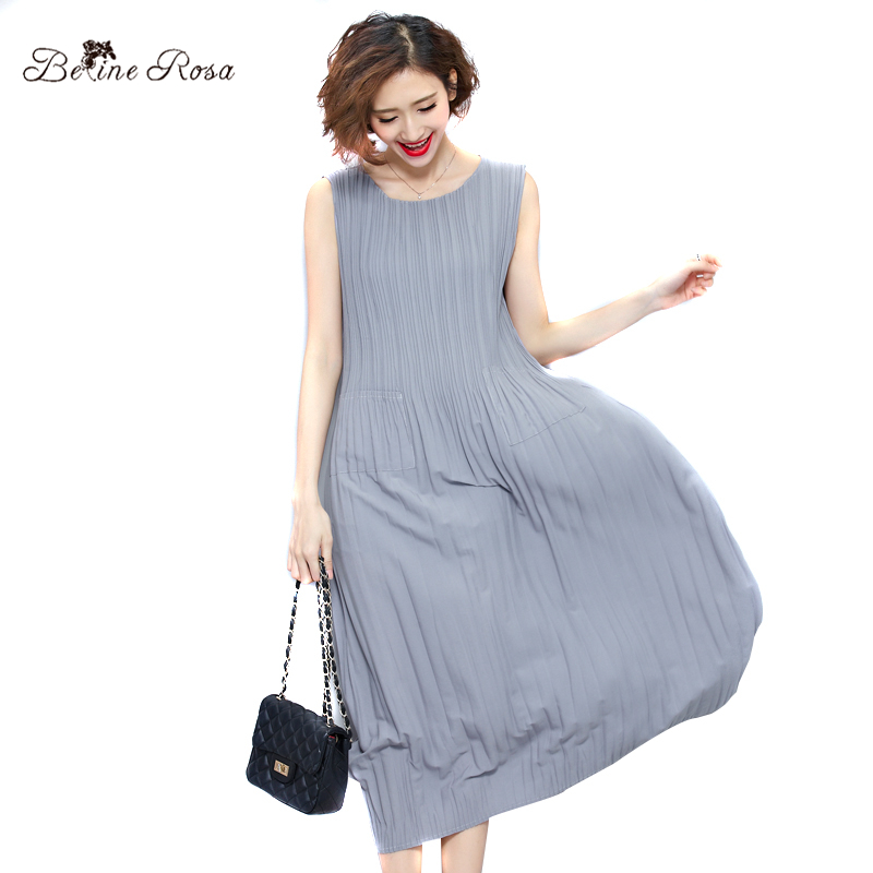 Abiti estivi da donna di BelineRosa 2017 Pure Color Casual Women Draped Dress Sleeveless Abiti Plus Size per Donna QY00001