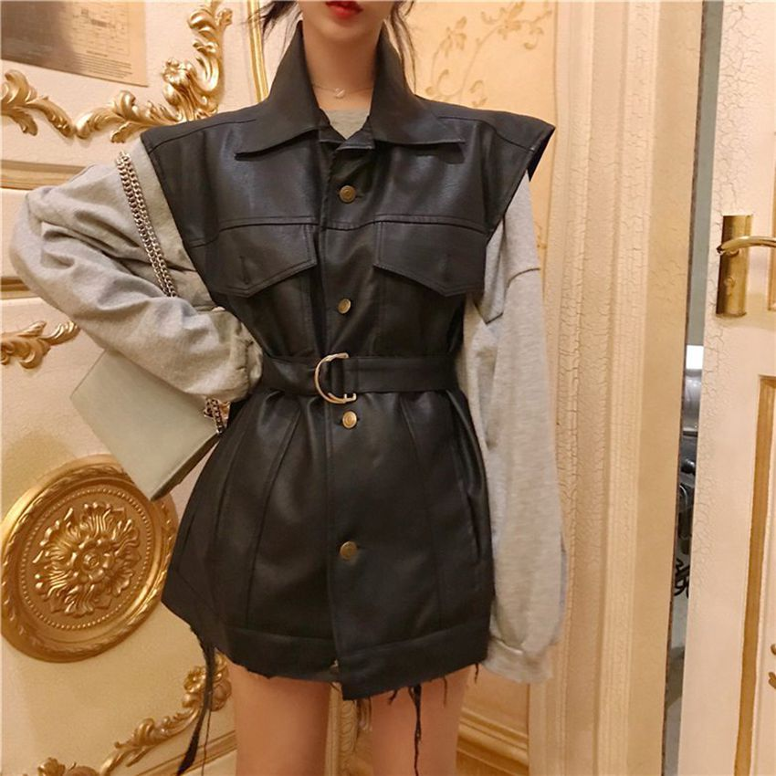 Mferlier Women PU   Leather   Long Coat Black Solid Sleeveless Turn Down Neck Nigh Party Club Vest High Waist Belt Outwear