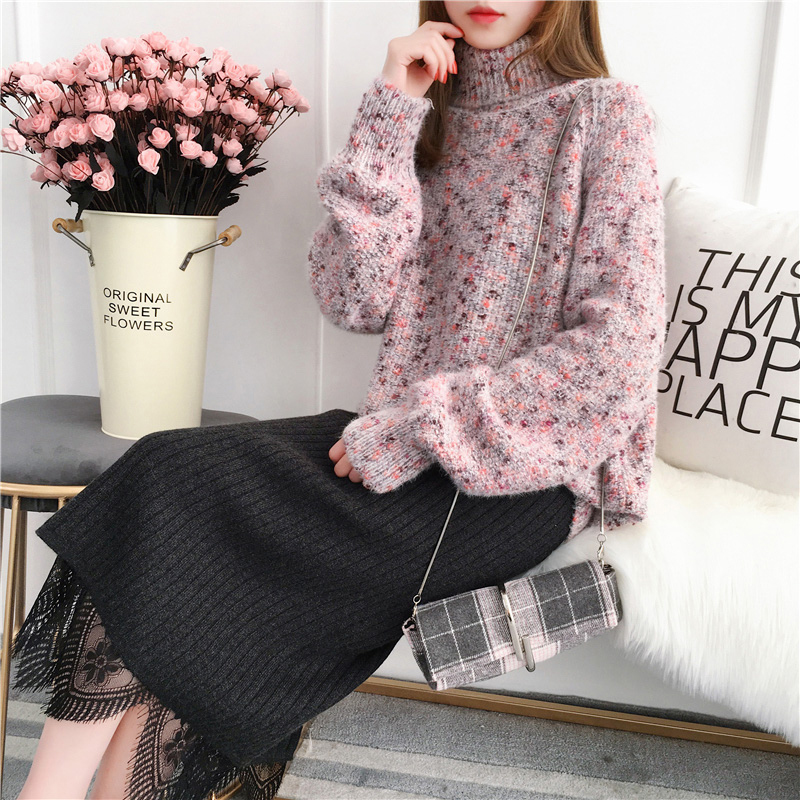 2019 Women's Autumn New Sweater Loose Mixed Color Turtleneck Sweater Large Size Long Sleeve Warm Bottoming Shirt Sweater LQ139