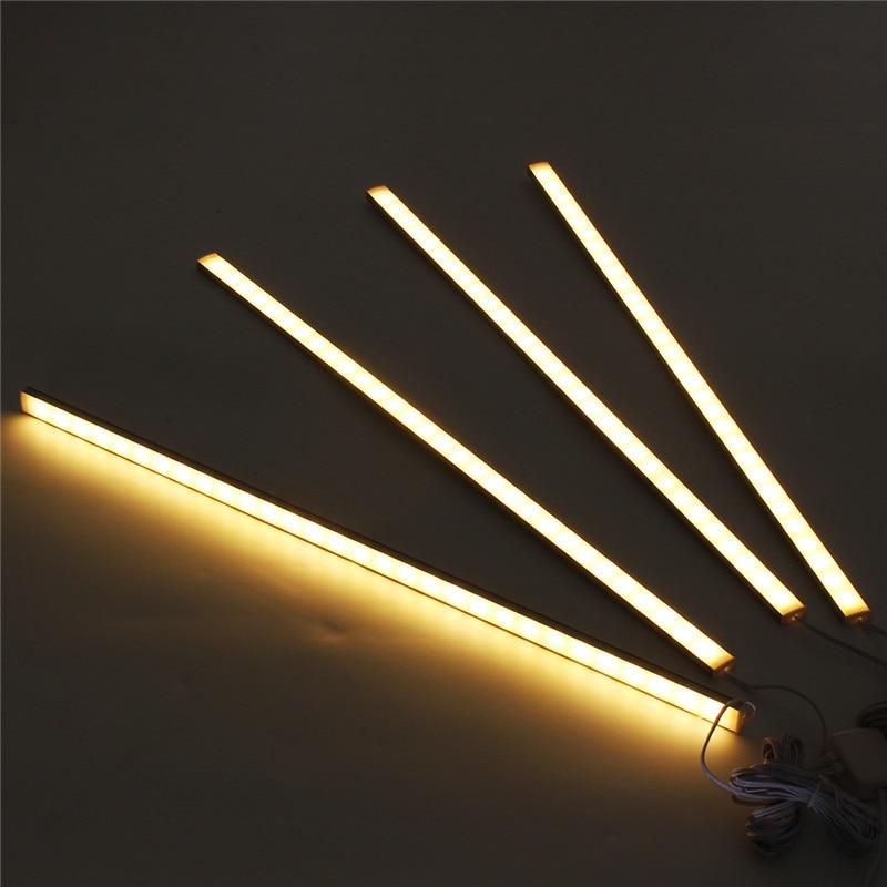CLAITE 4 piezas 50 CM 5730SMD 30 LED debajo de la luz del Gabinete Kit de 1000LM 10 W LED Luz de tira para bajo armario de cocina de la lámpara del gabinete
