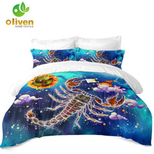 Scorpio Constellation Bedding Set Dreamlike Cartoon Duvet Cover Colorful Galaxy Pillowcase Kids Bedroom Decor D40
