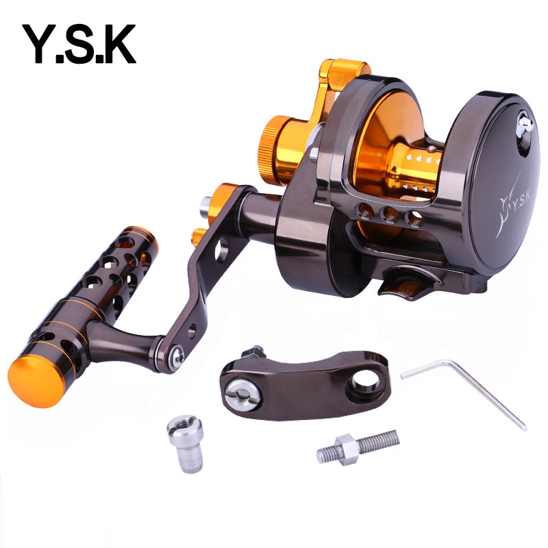 Full metal fishing reel two speed jigging reel 15W overhead reel left handle and right hande 30kgs drag CNC saltwater boat reel saltwater reel jigging 15w 60lbs balanced drag offshore inshore sea game fishing silky smooth super light gomexus