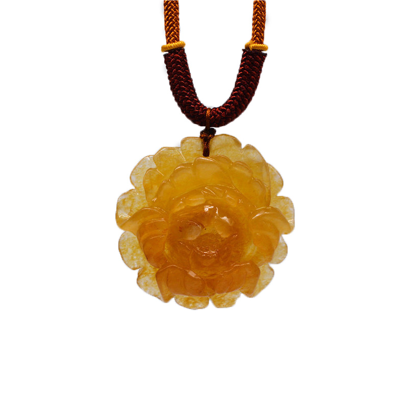 YunNan HuangLong Jade Peony Flower Pendant Necklace Sweater Chain Drop Shipping Hand Carved Stone With