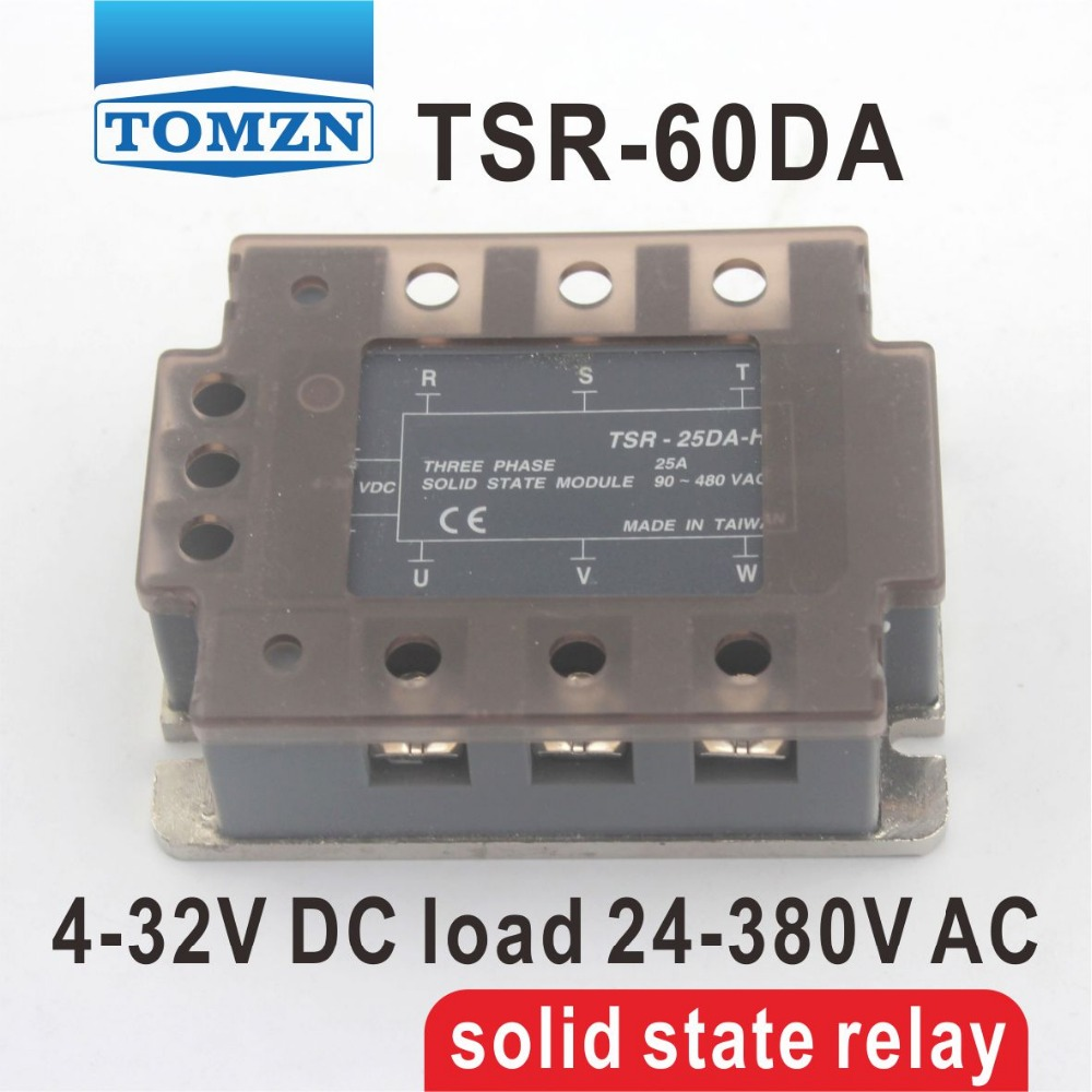 цена на 60DA TSR-60DA Three-phase SSR input 4-32V DC load 24-380V AC single phase AC solid state relay