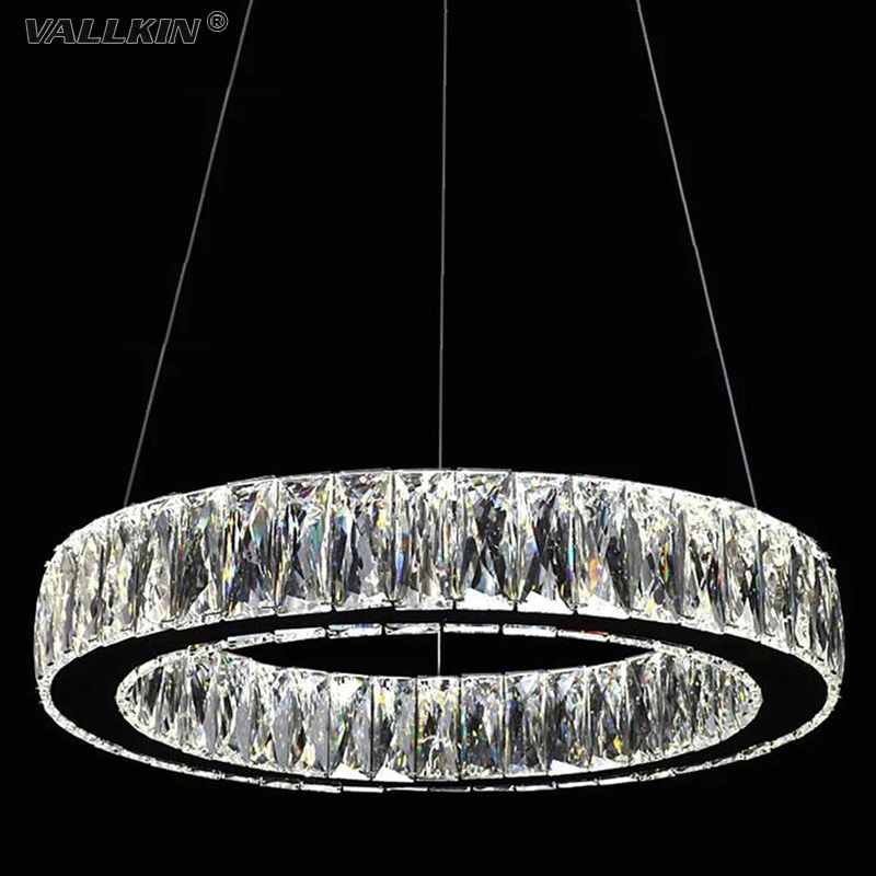 VALLKIN LED Crystal Pendant Light Lamps Fixtures For Hotel Bar Mall AC110 To 240V Stainless Steel Clear K9 Crystal zg9048 pendant light ac 110 240v