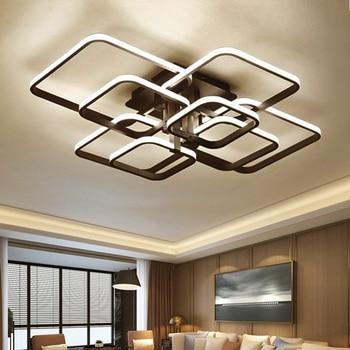 Black Square Modern LED Chandeliers Lighting For Dining Living Room Bedroom Home Ceiling Decor Lights Fixtures Lamp Lustre