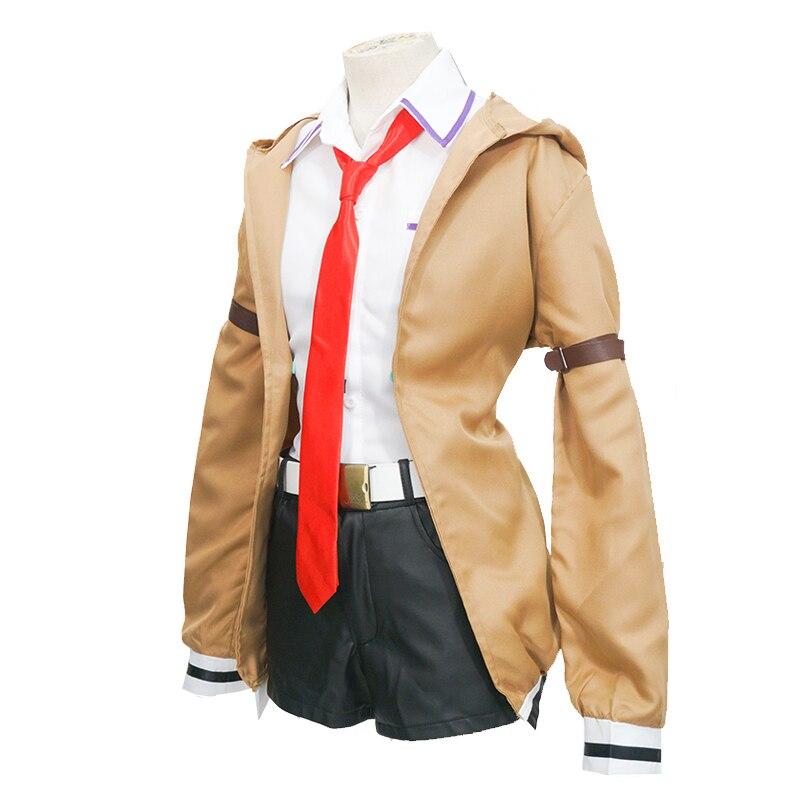 Steins Gate 0 Kurisu Makise Cosplay Costume Anime School Uniform Full Sets Coat + Shirt + Shorts Drop Ship