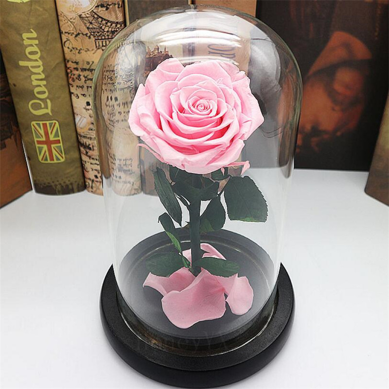 Forever Rose Flower Preserved Fresh Flower Led Rose Glass Cover Festival Luminous Glass Beautiful Party Easy To Lubricate Festive & Party Supplies Home & Garden