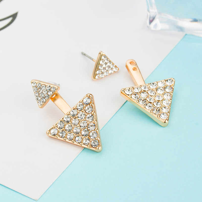 1 Pair Lovely Girl's Triangular Stud Earrings Personality Gifts For Ladies Fashion Detachable Double Wear Earrings Women Jewelry