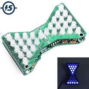 DC 5V Blue LED Electronic Hourglass DIY Kit Speed Adjustable Funny Electronic DIY Kits LED Double Layer PCB Board(China)