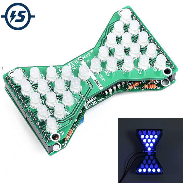 DC 5V Blue LED Electronic Hourglass DIY Kit Speed Adjustable Funny Electronic DIY Kits LED Double Layer PCB Board
