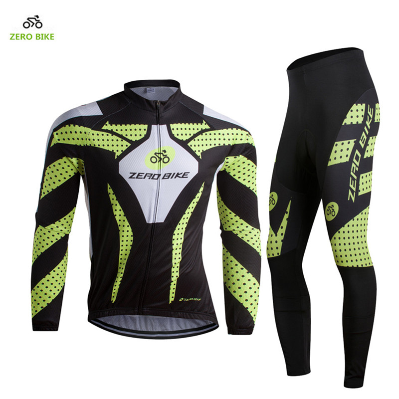 ZEROBIKE 2017 Men Long Sleeve Cycling Jersey set Breathable Cycling clothing Professional mountain Bike Sportswear