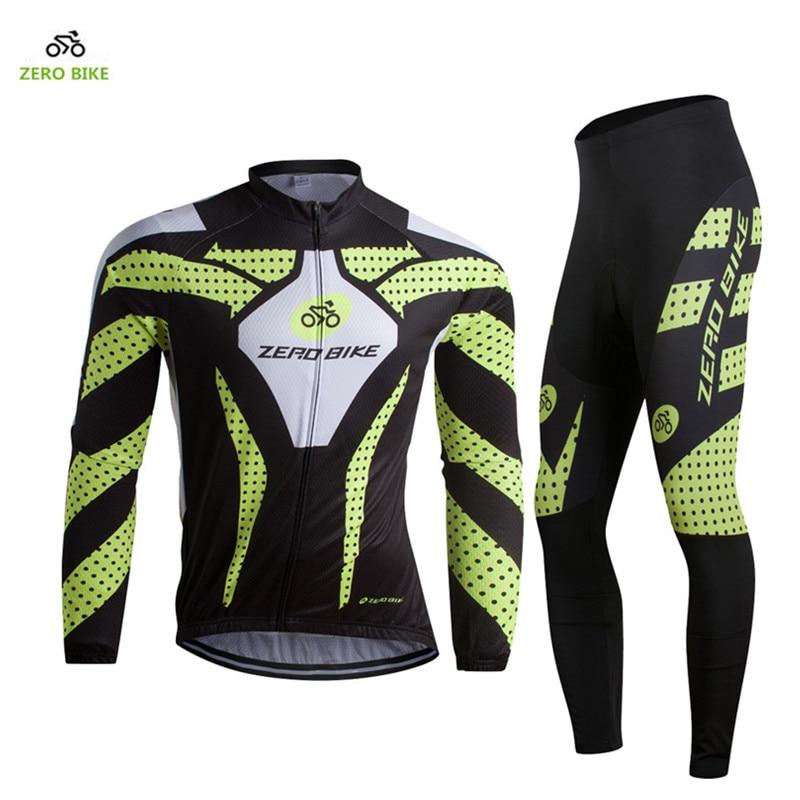 Zerobike 2017男性長袖サイクリングジャージーセット通気性サイクリング服プロフェッショナルマウンテンバイクスポーツウェア  グループ上の スポーツ & エンターテイメント からの サイクリングセット の中 1