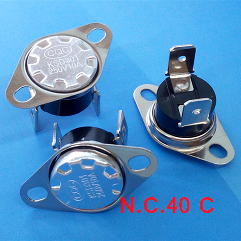 100 pcs lot KSD301 NC Thermostat Temperature Switch Normally Close NC 40 Celsius 10A 250V