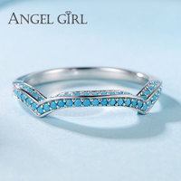 Angel Girl 925 Sterling Silver Created Turquoise Ring Female Casual Sporty Christmas Gift For Women Brand