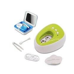 Elektroniczna cyfrowa Mini ultradźwiękowa maszyna do czyszczenia myjka do kąpieli soczewka kontaktowa ultradźwięki niewidoczne pudełko na okulary podróż