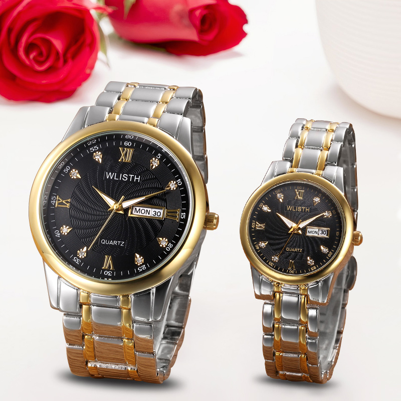 WLISTH Couple Watches Fashion Casual Quartz Watch for Lovers Top Brand Luxury Stainless Steel Diamonds Luminous Lover's Gilft(China)
