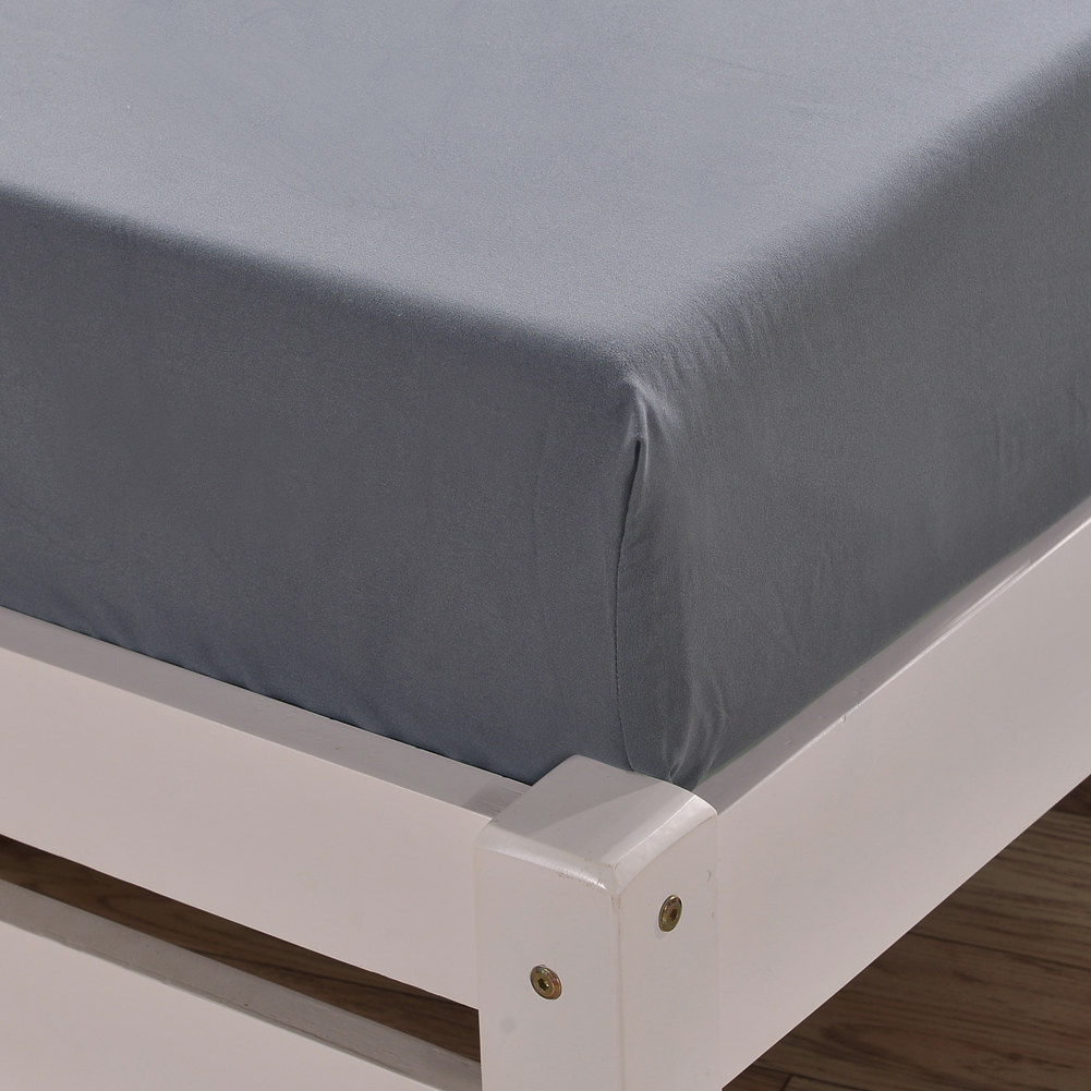 Enipate 1 Piece Solid Color 100% Polyester Sheet Rectangle Bed Sheet US Size Non-slip Protection Cover Bedding Mattress