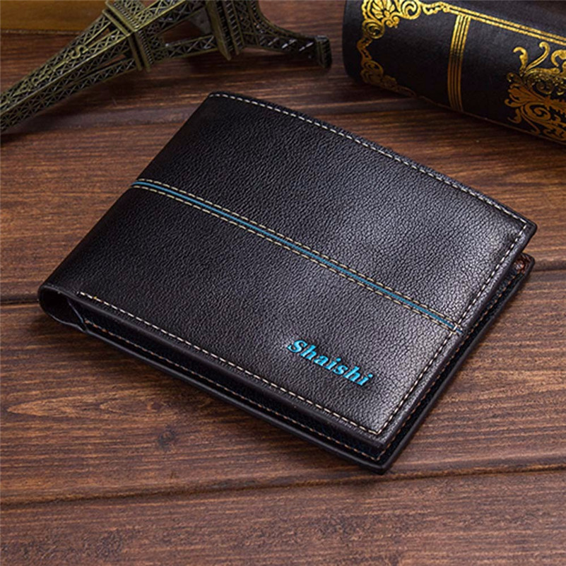 2016 Fashion New Designed Men Leather ID credit Card holder Clutch Coin Purse Wallet Hot Sale