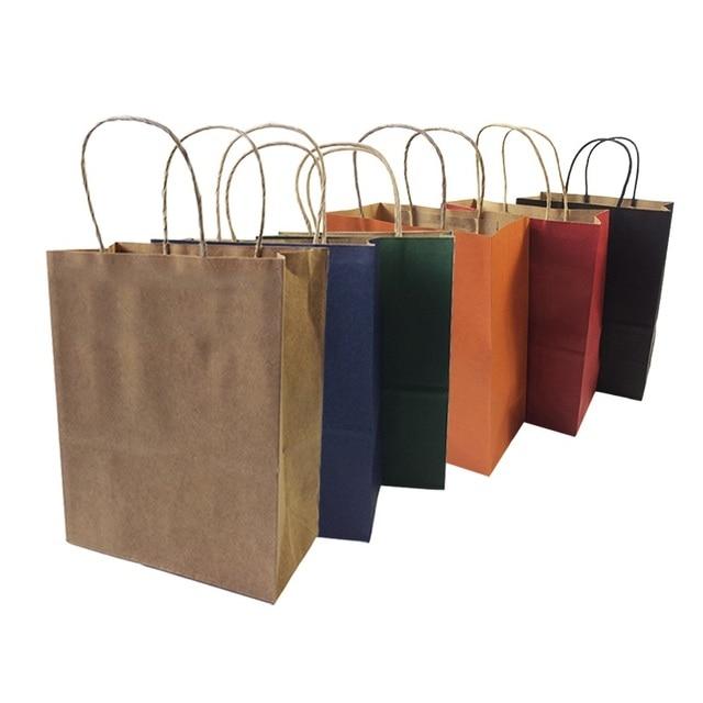 10 pçs/lote Natural Saco de Papel Kraft Com Alça Partido Recicláveis Sacos de Presente de Papel de Proteção Ambiental 27*21*11 cm