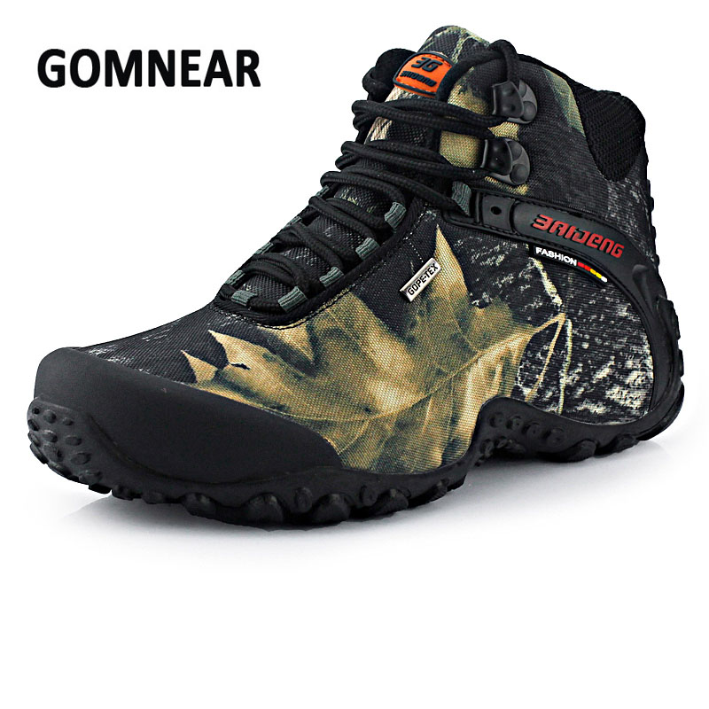 GOMNEAR Men Waterproof Hiking Shoes Anti-skid Fishing Boots Mountain Climbing Shoes Outdoor Breathable Camping Hunting Sneakers clorts outdoor hiking shoes walking men climbing shoes sport boots hunting mountain shoes non slip breathable hunting boots