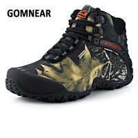 GOMNEAR Men High Shoes Waterproof Antiskid Wear Resistant Boots Trend Lace Up Hiking Shoes Breathable Comfortable
