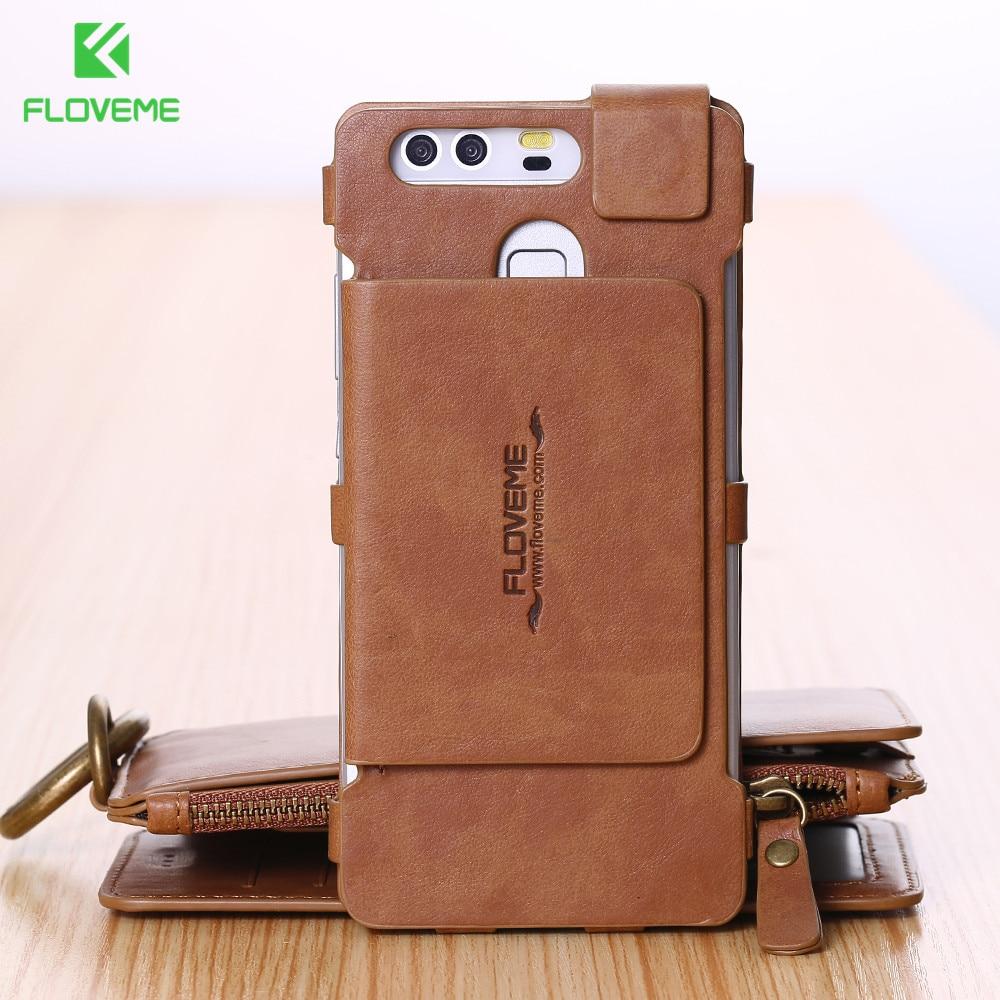bilder für FLOVEME Gefaltete Brieftasche Fall Für Huawei Ascend P9 Vintage Echtem Ledertasche mit Kartensteckplätze für Huawei P9 Vollschutz abdeckung