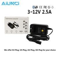 3 В 4,5 В 5 В 6 В 7,5 В 9V 12V 30 Вт AC DC адаптер Регулируемая Питание адаптер Универсальный Зарядное устройство для светодио дный полосы Камера мобиль...