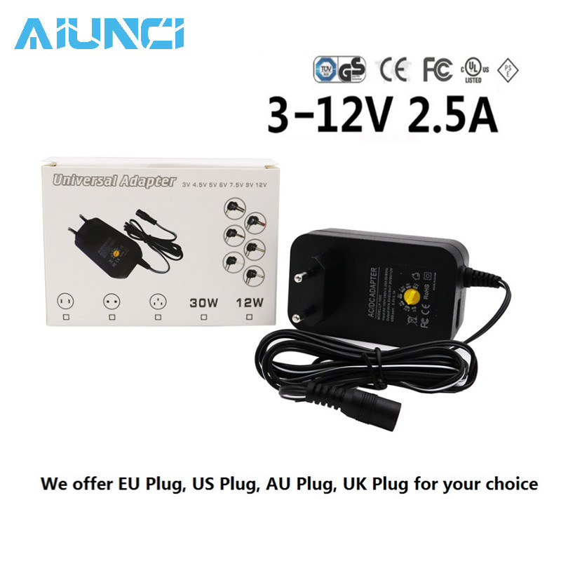 Access Control Dc Adapter Adjustable Power Supply Universal Power Charger For Led Light Bulb Led Strip Access Control Kits 3v 4.5v 5v 6v 7.5v 9v 12v 2a 2.5a Ac