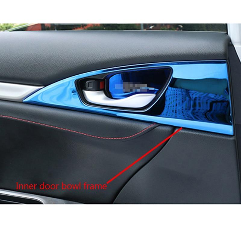 For Honda Civic 2016 Chrome Door Handle Catch Cover Bowl Decoration Frame 8x