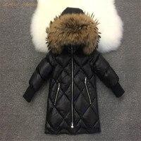 Children Winter Jackets 2018 Kids Fox Raccoon Fur Collar Coats Baby Boys Girls White Duck Down Parkas Coat Cyy348