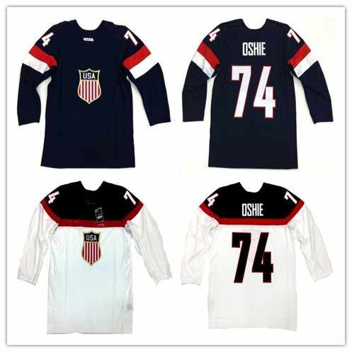 Rare Vintage 2014 TEAM USA  74 TJ OSHIE Hockey Jersey Embroidery Stitched  Customize any number 08cf1f715