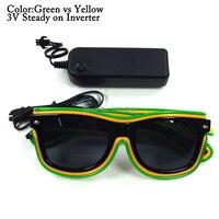 EL Wire Sunglasses with Black lens 100pcs Double Color Costume Rave Props for Party DIY Decor